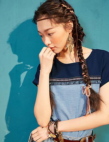 Naiset Lyhythihainen Pyöreä kaula-aukko Puuvilla Yksinkertainen Rento/arki T-paita,Yhtenäinen Painettu Color Block