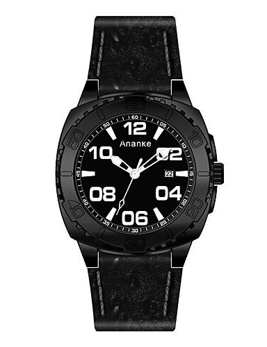Homens Relógio Elegante Relógio de Moda Quartzo Venda imperdível Couro Legitimo Banda Amuleto Preta