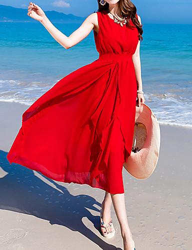 Dámské Jdeme ven Plážové Pouzdro Midi Šaty Jednobarevné Bez rukávů Kulatý High Rise Léto Hedvábí Bavlna