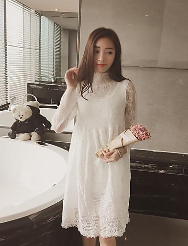 Damen A-Linie Kleid-Ausgehen Solide Rundhalsausschnitt Knielang Langarm Baumwolle Alle Saisons Mittlere Hüfthöhe Mikro-elastisch Dünn