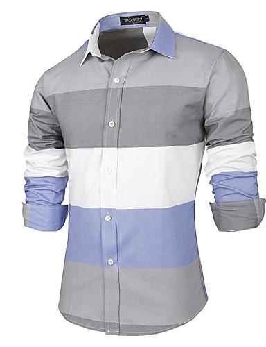 Pánské Barevné bloky Běžné/Denní Čínské vzory Košile Bavlna Klasický límeček Dlouhý rukáv