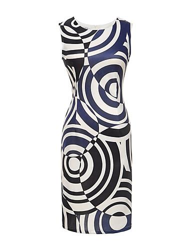 Dámské Vintage Běžné/Denní Plážové Dovolená Bodycon Šaty Tisk,Bez rukávů Kulatý Nad kolena Polyester Spandex Léto High RiseLehce
