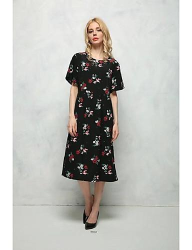 Damen Lose Etuikleid Kleid-Ausgehen Lässig/Alltäglich Einfach Street Schick Blumen Rundhalsausschnitt Midi Kurzarm Seide Baumwolle Sommer