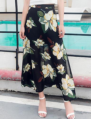Damen Alltag Ausgehen Midi Röcke Trompete/Meerjungfrau,Baumwolle / Nylon mit einem Hauch von Stretch 100% Baumwolle Sommer