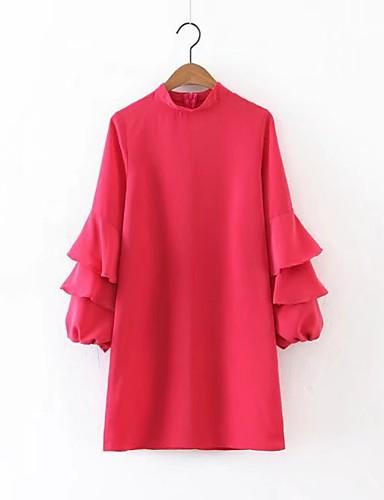 Damen Lose Etuikleid Kleid-Ausgehen Lässig/Alltäglich Einfach Street Schick Solide Rundhalsausschnitt Übers Knie Seide Baumwolle Sommer