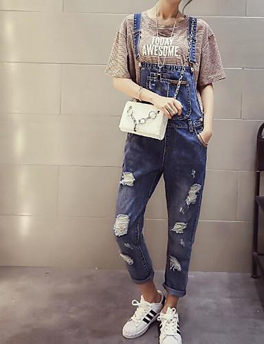Dámské Jednoduchý Mikro elastické Džíny Montérky Kalhoty Štíhlý Mid Rise Jednobarevné