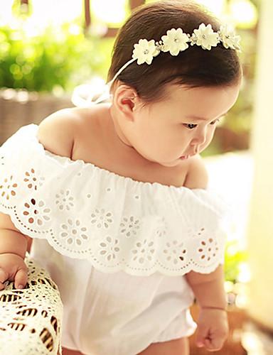 Baby Mädchen Einzelteil Solide Stickerei Modisch Baumwolle Sommer Kurzarm Gerüscht Weiß