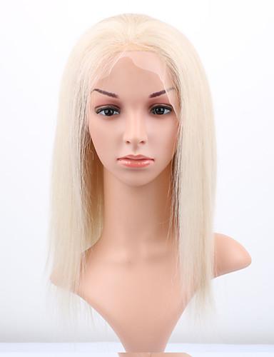 billige Blondeparykker med menneskehår-Remy Menneskehår Halvblonder uten lim Blonde Forside Parykk stil Brasiliansk hår Rett Parykk 130% Hair Tetthet med baby hår Naturlig hårlinje Afroamerikansk parykk 100 % håndknyttet Dame Kort Medium