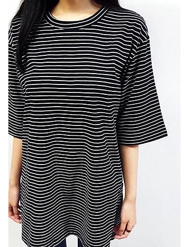 Damen Solide Retro Street Schick Ausgehen T-shirt,Rundhalsausschnitt Frühling Sommer Kurzarm Baumwolle Mittel