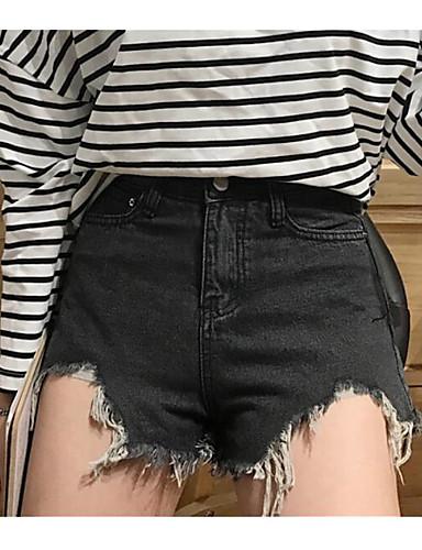 Damen Einfach Hohe Hüfthöhe Mikro-elastisch Jeans Kurze Hosen Breites Bein Hose einfarbig