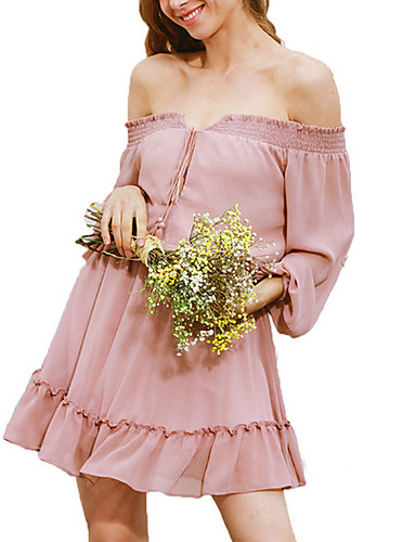 Damen Lose Kleid-Ausgehen Lässig/Alltäglich Retro Anspruchsvoll Solide Bateau Übers Knie Langarm Baumwolle Kunstseide Alle SaisonsHohe
