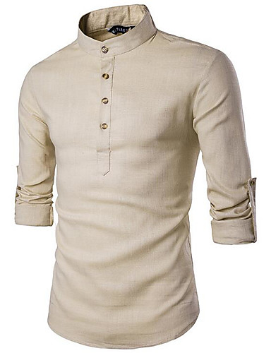 Men's Linen Slim Shirt - Solid Colored Basic Standing Collar / Long Sleeve