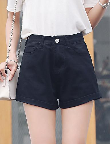 Dámské Jednoduchý Mikro elastické Kraťasy Kalhoty Štíhlý High Rise Jednobarevné