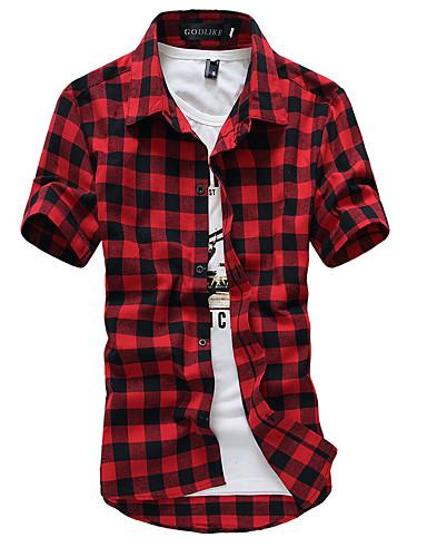 voordelige Uitverkoop-Heren Chinoiserie Overhemd Katoen, Strand Ruitjes Klassieke boord Zwart / Korte mouw