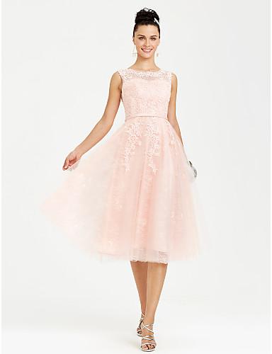 Linha A Ilusão Decote Longuette All Over Lace Baile de Formatura / Evento Formal Vestido com Apliques Faixa / Fita de TS Couture®