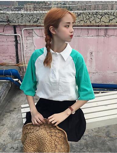 Damen Einfarbig Einfach Lässig/Alltäglich T-shirt,Hemdkragen Kurzarm Baumwolle