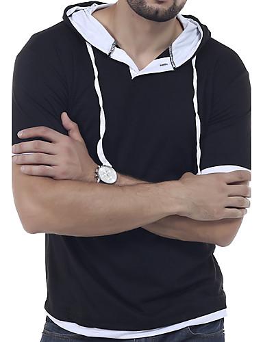 herrn solide sport t shirt mit kapuze kurzarm sommer. Black Bedroom Furniture Sets. Home Design Ideas