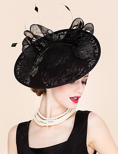 billige Hatte & Imponeringer-Blonde / Fjær Kentucky Derby Hat / pannebånd / fascinators med 1 Spesiell Leilighet / utendørs Hodeplagg