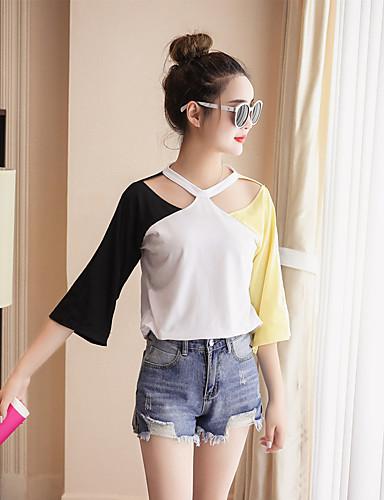 Damen Einfarbig T-shirt, Halter Baumwolle