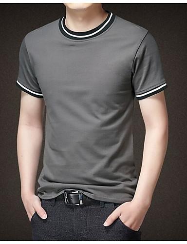 Homens Camiseta Sólido Decote Redondo