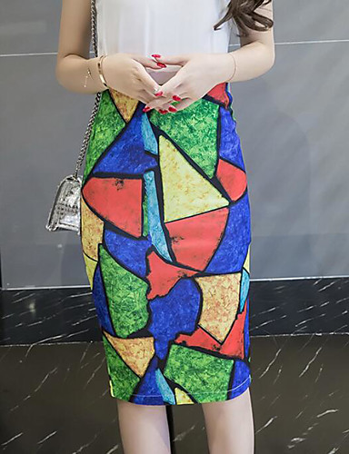 Damen Klub Knielänge Röcke Bodycon Geometrisch Sommer