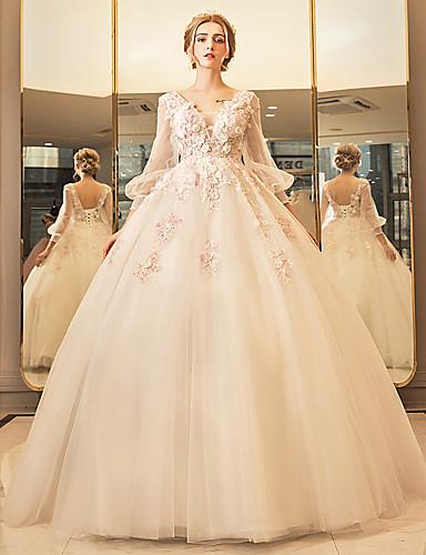 Ballkleid Tiefer Ausschnitt Boden-Länge Tüll Hochzeitskleid mit Perlenstickerei Applikationen Spitze durch Yuanfeishani