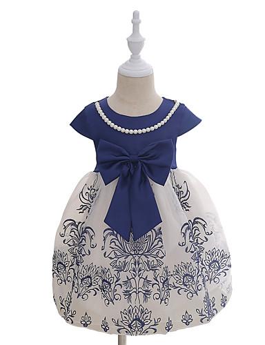 Mädchen Kleid Modisch Druck Bestickt Baumwolle Sommer Kurzarm