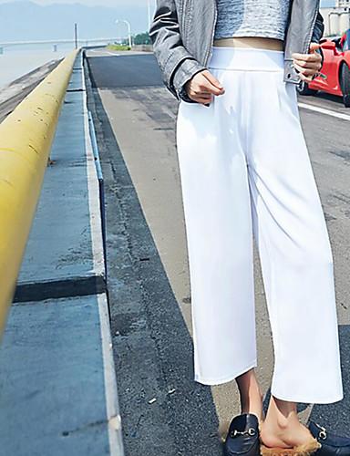 Damen Street Schick Hohe Hüfthöhe Mikro-elastisch Chinos Breites Bein Hose