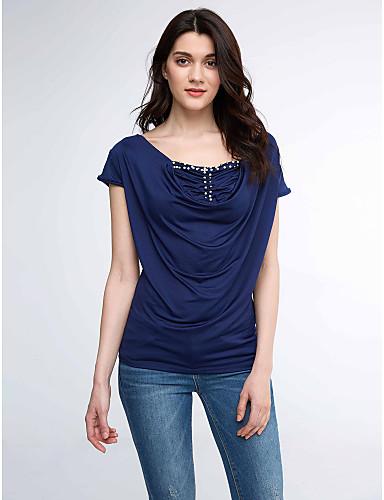 Damen Patchwork T-shirt Gerüscht Polyester