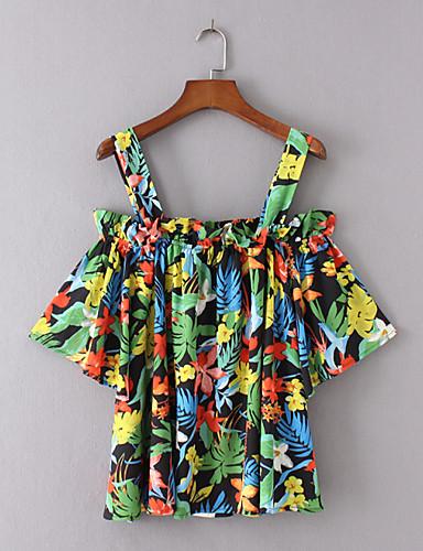 Damen Druck Einfach Sexy Street Schick Ausgehen Lässig/Alltäglich T-shirt,Gurt Sommer Ärmellos Baumwolle Dünn Mittel