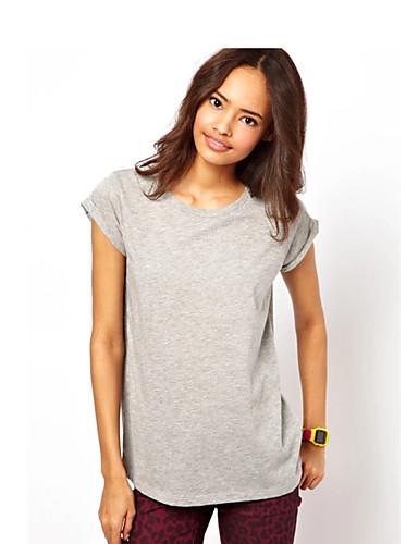 Damen Solide Druck Einfach Lässig/Alltäglich T-shirt,Rundhalsausschnitt Sommer Kurzarm Baumwolle Mittel