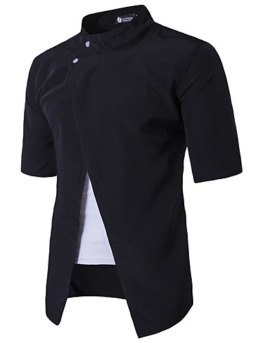 Herren Solide Einfach Lässig/Alltäglich Hemd,Ständer Kurzarm Baumwolle