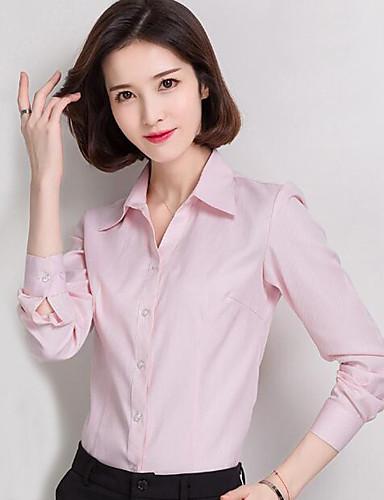 Damen Solide - Grundlegend Übergrössen Hemd, Hemdkragen