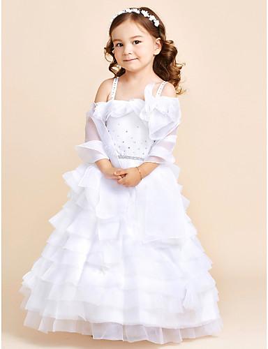 Vestido de princesa vestido de flor com piso de princesa - Corpo sem manga de organza com flor