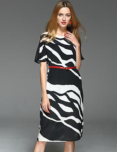 7495a5eda Mulheres Para Noite Trabalho Casual Sofisticado Seda Bainha Vestido -  Clássico Fashion Estampado, Estampa Colorida