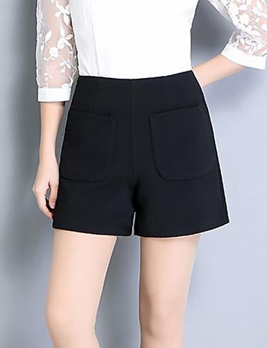 Dámské Jednoduchý Mikro elastické Kraťasy Kalhoty Rovné High Rise Čistá barva Rozparek Jednobarevné