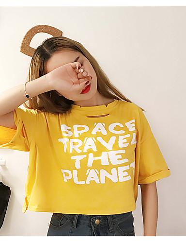 Damen Buchstabe - Street Schick Baumwolle T-shirt