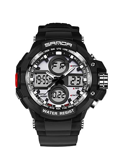 SANDA Homens Relógio Esportivo / Relógio de Moda / Relógio Militar Japanês LED / Dois Fusos Horários / Monitores de Atividades Esportivas Silicone Banda Preta / Branco / Marrom / Noctilucente