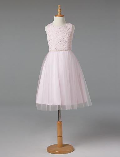 A-Linie Quadratischer Ausschnitt Knie-Länge Spitze Tüll Junior-Brautjungferkleid mit Knöpfe Kristall Verzierung Schärpe / Band durch LAN