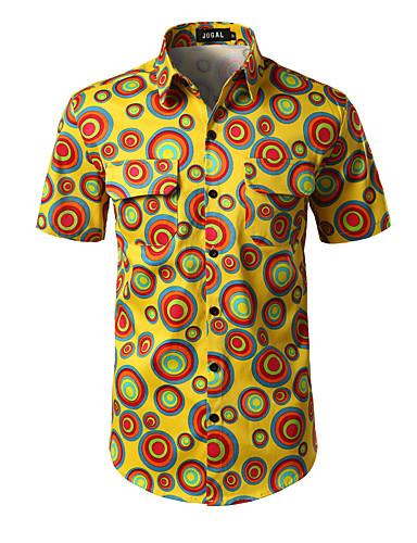 Homens Camisa Social Diário Trabalho Casual Geométrica Poliéster/Algodão Colarinho de Camisa Manga Curta