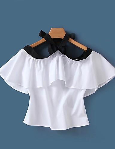 Dámské Jednobarevné Jednoduchý Sexy Šik ven Tričko-Léto Bavlna Lodičkový Krátký rukáv Tenké Střední