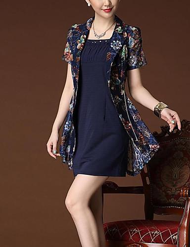 Women's Plus Size Casual A Line / Sheath Dress Print Square Neck