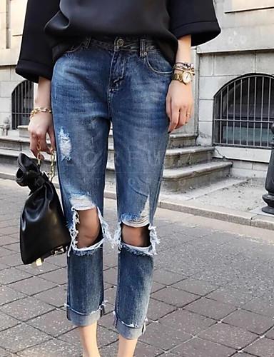 Dámské Šik ven Mikro elastické Džíny Kalhoty Rovné High Rise Jednobarevné