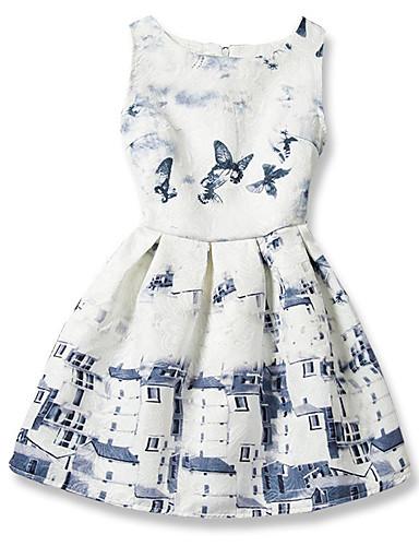 Dívka je Bavlna Módní Tisk Geometrie Léto Šaty,Bez rukávů
