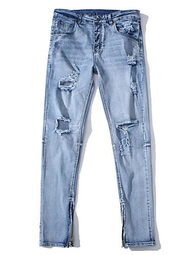 Homens Moda de Rua Tamanhos Grandes Algodão Solto Jeans Largo Calças - Sólido Estampado rasgado