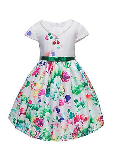 Dívka je Bavlna Módní Květiny Květinový Léto Šaty,Krátký rukáv