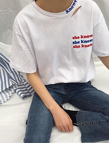 Damen Buchstabe - Freizeit Baumwolle T-shirt / Frühling / Sommer