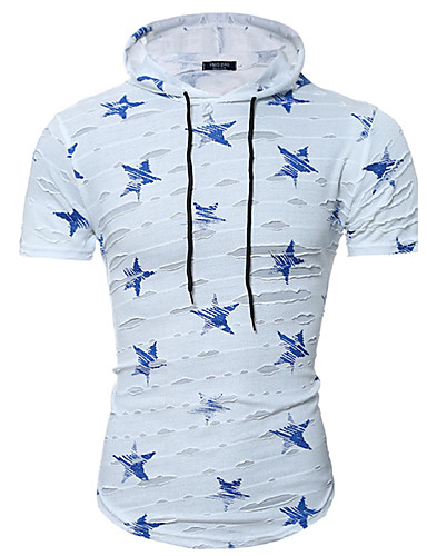 Herren Druck Einfach Aktiv Ausgehen Lässig/Alltäglich Klub T-shirt,Mit Kapuze Alle Saisons Sommer Kurzarm Baumwolle Elasthan