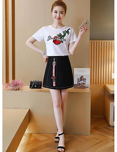 Damen Blumen Niedlich Lässig/Alltäglich T-Shirt-Ärmel Rock Anzüge,Rundhalsausschnitt Sommer Kurzarm Bestickt Mikro-elastisch