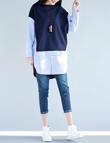 Damen Gestreift Einfach Niedlich Ausgehen Lässig/Alltäglich Urlaub Hemd,Rundhalsausschnitt Frühling Sommer Langarm Baumwolle Dünn